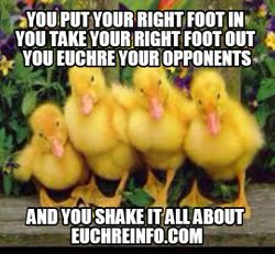 You put your right foot in, you take your right foot out. You Euchre your opponents and you shake it all about.