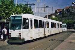 Duewag Stadtbahn M Type Tram, in Volksbank Livery