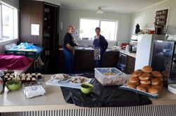 Alison & Ngaire working hard in the Kitchen