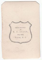 H. C. Aller, photographer, Trenton, NJ - back