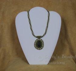 Beaded Riverstone Pendant with Herringbone Chain