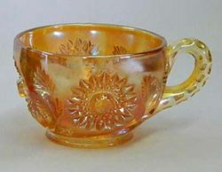 Hobstar and Feather punch cup, marigold