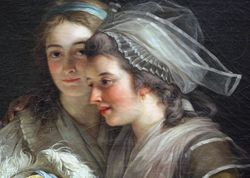 Labille-Guiard, Self-Portrait with Two Pupils, 1785, detail (Met)