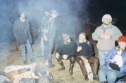 1994 (L to R)  Werzel?,Frank Warner, Rob Edgar, Rob Popplewell, Alan & Marie Pennykid with Deety on lap