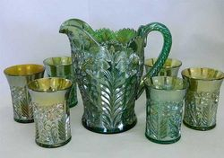 Tiger Lily 7 pc. water set - green