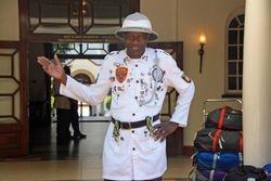 Greeter at Victoria Falls Hotel, Zimbabwe