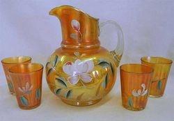 (Enameled) Lotus 5pc. water set, marigold