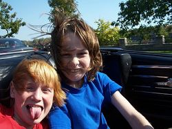 Mike and Joey having fun cruising in the convertible