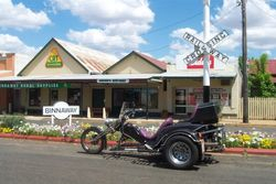 Tom's Trike in the main St of Binnaway, an old Railway Centre, Sydney Odyssey at Coonabarabran - Oct 2007