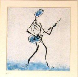 Gitarist in blue