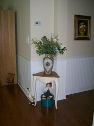 OCCASIONAL TABLE, HAND PAINTED VASE ARRANGEMENT, ARTWORK, COLLECTOR DOLL, MOST DOLLS HAVE BOXES.