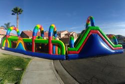 Rainbow Obstacle course with climbing wall and slide