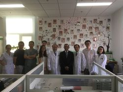 At the Residents' office, Friendship Hospital, Beijing