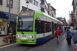 "Tram #2532 ""wombling free"" overground to Wimbledon."