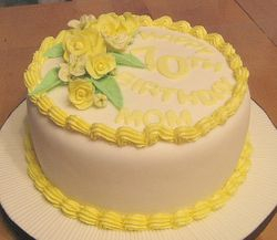 Birthday Cake with Yellow Roses
