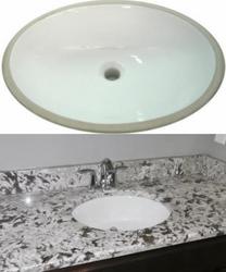 Porcelain oval undermount sink