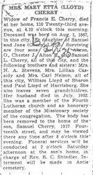 Cherry, Mary Etta Lloyd 1935