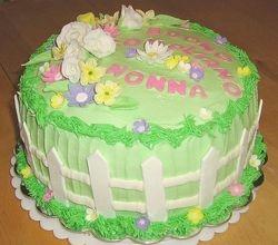 White Picket Fence Birthday Cake