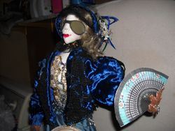 close up of face-and her fan
