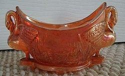 Royal Swans posy vase/salt, marigold, Sowerby