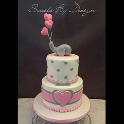 Pink Elephant Polka Dot Shower Cake