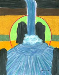 Spirit Waterfall Mandala, Oil Pastel, 11x14, Original Sold