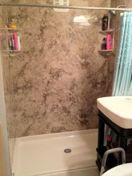 After: Barrier-free shower with Madeira Granite wall surround