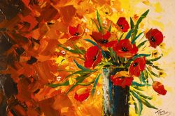 Poppies in vase.