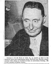 J.E. DeFord Druggist and Coroner in 1925