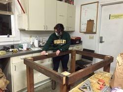 Haley sanding down the edges