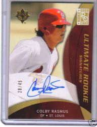 2009 Ultimate Rookie Signatures Card RC Auto Colby Rasmus #  28/45