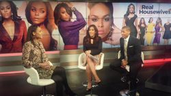 Demetria McKinney, Sharon Carpenter and Shannon Lanier on set of Arise TV 360