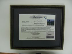 Aeroframes framed certificate