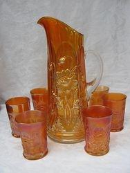 Oriental Poppy tankard water set, marigold