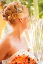 The brides beautiful hair