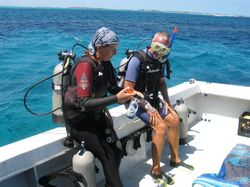 Getting ready for the second dive