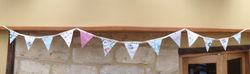 Cath Kidston budgies & Clocks with vintage embroidery & wooden heart buttons ~ 13 flags