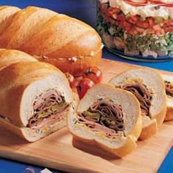 Italian loaf ham and beef sandwich