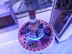 four foot fruit display with a four foot fruit tree.