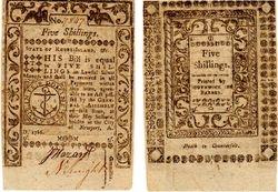 1786 Rhode Island, 5 Shilling Note