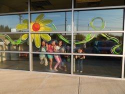 Summer Sunflowers Window Mural
