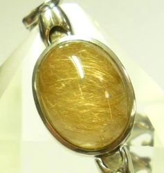 09-00131a Gold Rutilated Quartz Cabochon Sterling Link Bracelet