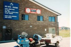 Tom's K75RT & Camper Trailer at Mt Hotham Vic on the way to 1996 AGM Hobart - Feb 1996