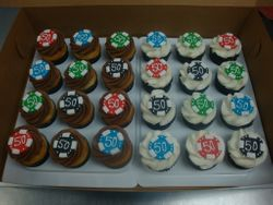 poker chip topper cupcakes $6 each
