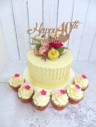40th Birthday Flowery Drip Cake