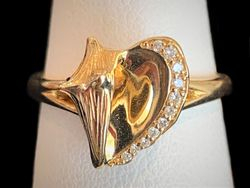 14k yellow gold conch ring with diamond edge