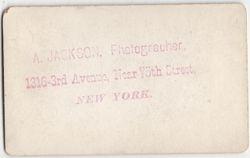 A. Jackson, photographer of New York, NY No. 1 - back