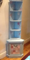 Wall unit in duck egg with decoupaged cupboard