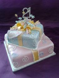 2 tier parcel birthday cake
