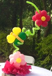 Balloon Sculpture of Flowers, Poms and Butterfly